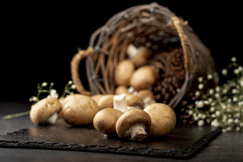 mushrooms-black-stone-plate-with-brown-knitted-basket